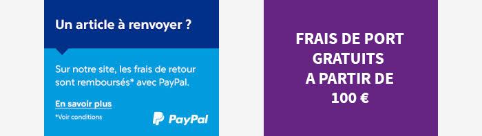 Retour gratuit avec Paypal et frais de livraison gratuit à partir de 100 euros d'achat